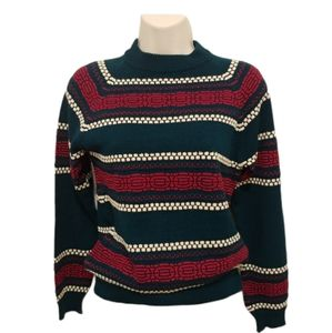 Vintage Green/Red/White Knit Sweater with Patterns